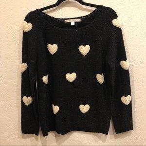LC Lauren Conrad Black w/ Cream Hearts Sweater